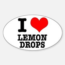 I Heart (Love) Lemon Drops Oval Decal