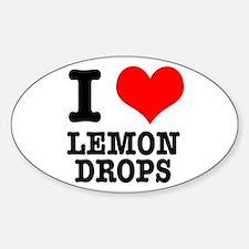 I Heart (Love) Lemon Drops Oval Decal
