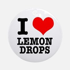 I Heart (Love) Lemon Drops Ornament (Round)