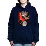 Lady..2 Poodles (ST) Women's Hooded Sweatshirt