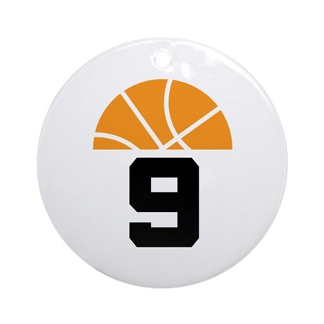Basketball Number 9 Player Gift Ornament (Round)