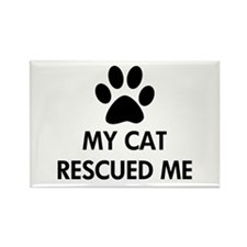 My Cat Rescued Me Rectangle Magnet (10 pack)