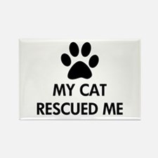 My Cat Rescued Me Rectangle Magnet (100 pack)