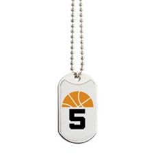 Basketball Number 5 Player Gift Dog Tags