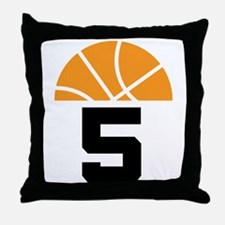 Basketball Number 5 Player Gift Throw Pillow