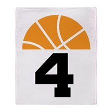 Basketball Number 4 Player Gift Throw Blanket