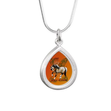 The Year Of The Horse Silver Teardrop Necklace