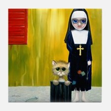"""""""The Crying Nun"""" painting Tile Coaster"""