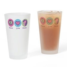Peace Love Ponies Drinking Glass