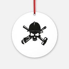 black diamond plate oilfield skull Ornament (Round