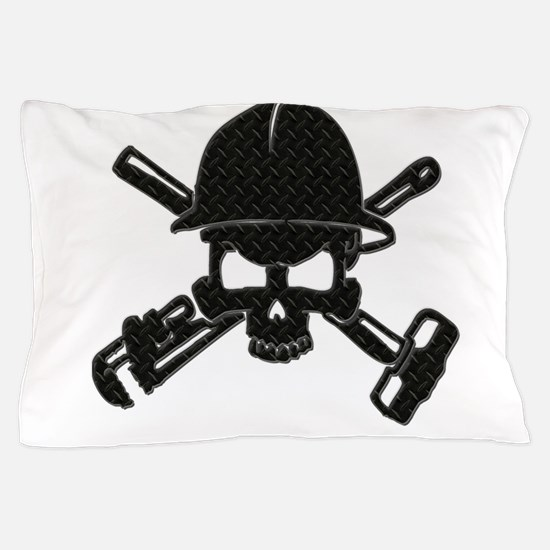 black diamond plate oilfield skull Pillow Case