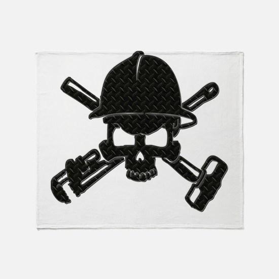 black diamond plate oilfield skull Throw Blanket