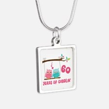 60th Anniversary Owl Couple Silver Square Necklace