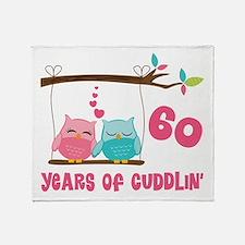 60th Anniversary Owl Couple Throw Blanket