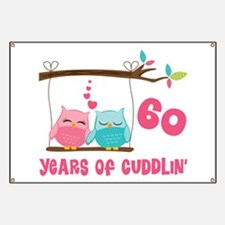 60th Anniversary Owl Couple Banner