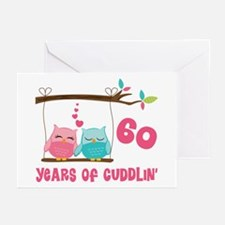 60th Anniversary Owl Couple Greeting Cards (Pk of