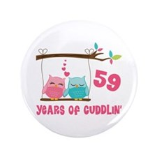 "59th Anniversary Owl Couple 3.5"" Button"