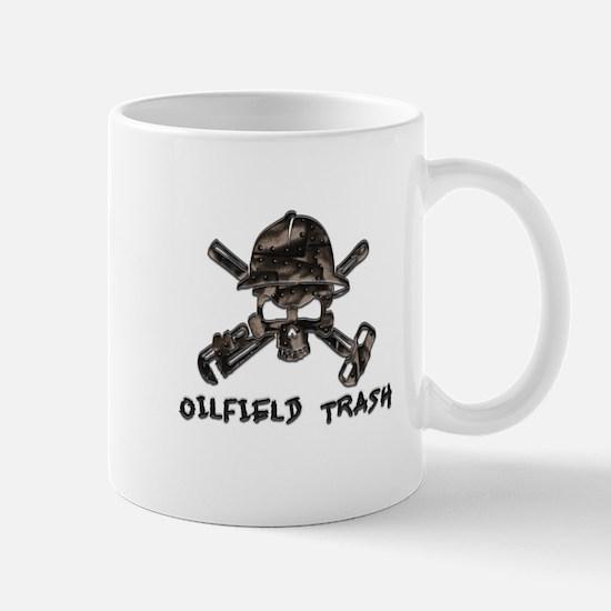 Riveted Metal Oilfield Trash Skull Mugs