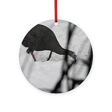 Snow Turkey Round Ornament