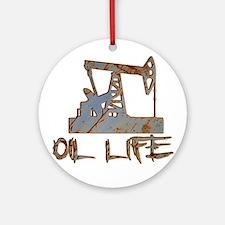 Oil Life Pumpjack Rusty Metal Ornament (Round)