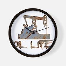 Oil Life Pumpjack Rusty Metal Wall Clock