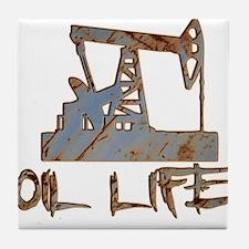 Oil Life Pumpjack Rusty Metal Tile Coaster