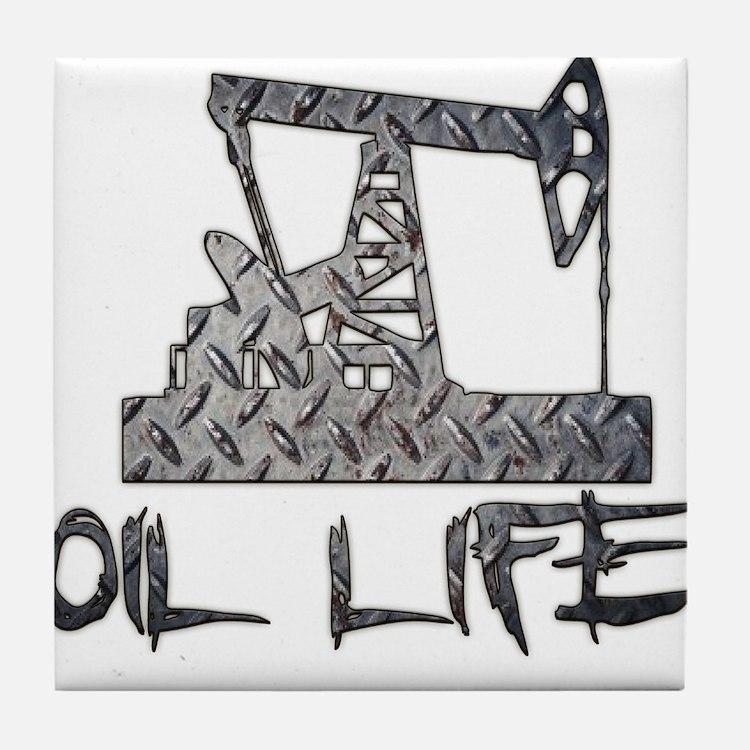 Diamond Plate Oil Life Pumpjack Tile Coaster