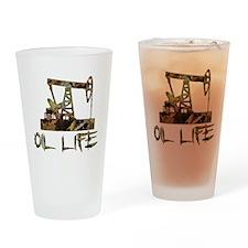 Camo Oil Life Drinking Glass