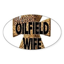 Leopard Print Blessed Oilfield Wife Cross Decal