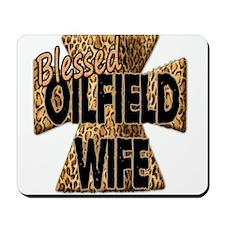 Leopard Print Blessed Oilfield Wife Cross Mousepad