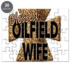 Leopard Print Blessed Oilfield Wife Cross Puzzle