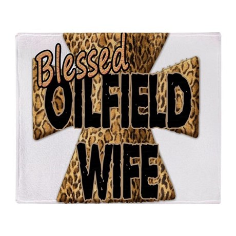 Leopard Print Blessed Oilfield Wife Cross Throw Bl