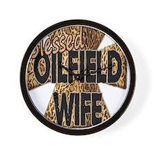 Leopard Print Blessed Oilfield Wife Cross Wall Clo