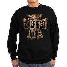 Leopard Print Blessed Oilfield Wife Cross Sweatshi