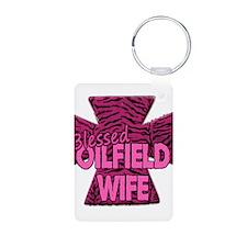 Pink Zebra Cross Blessed Oilfield Wife Keychains