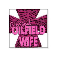 Pink Zebra Cross Blessed Oilfield Wife Sticker
