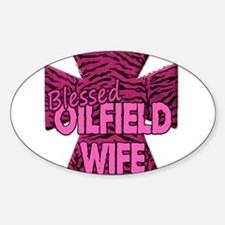Pink Zebra Cross Blessed Oilfield Wife Decal