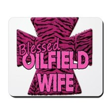 Pink Zebra Cross Blessed Oilfield Wife Mousepad