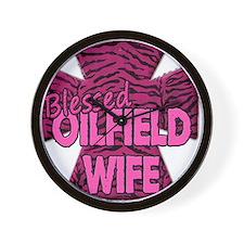 Pink Zebra Cross Blessed Oilfield Wife Wall Clock