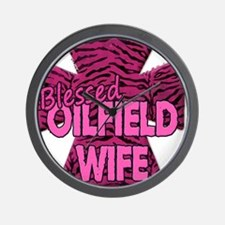 Pink Zebra Cross Blessed Oilfield Wife Wall Clock