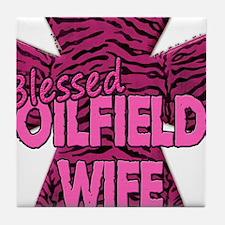 Pink Zebra Cross Blessed Oilfield Wife Tile Coaste