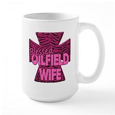 Pink Zebra Cross Blessed Oilfield Wife Mugs