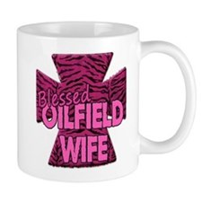Pink Zebra Cross Blessed Oilfield Wife Mugs