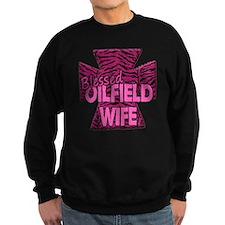 Pink Zebra Cross Blessed Oilfield Wife Sweatshirt