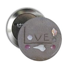 """Love on the Beach with Shells 2.25"""" Button"""