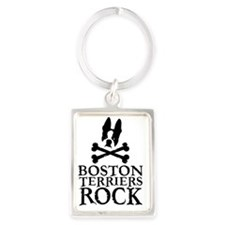 Boston Terriers Rock Portrait Keychain