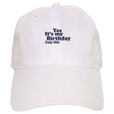 July 8 Birthday Baseball Cap