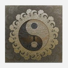 Yin Yang in tan colors with tree of life. Tile Coa