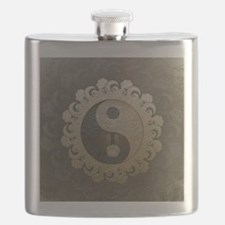 Yin Yang in tan colors with tree of life. Flask