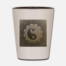 Yin Yang in tan colors with tree of life. Shot Gla